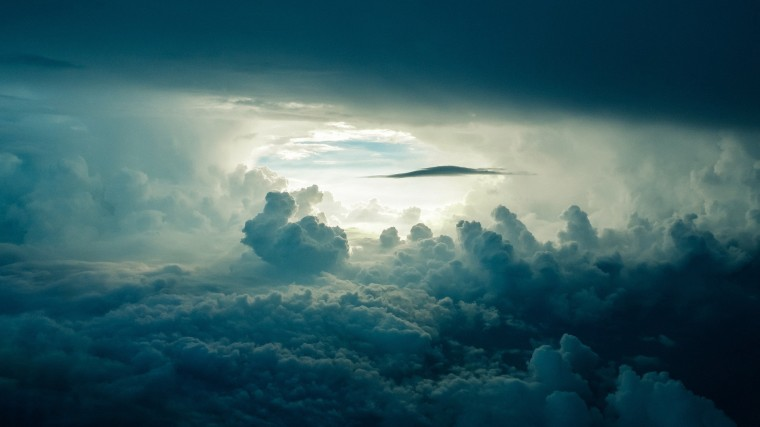 Storm clouds seen from above