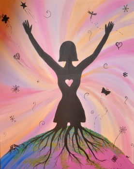 An acrylic paintings of a woman's silhouette with her legs turning into roots reaching into the ground, arms raised and spread, and her heart cut out of the silhouette so the pink and orange background studded with small nature shapes shows through.