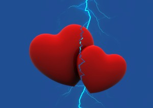 Two red hearts, one smaller than the other, against a deep blue background, with a lightning bolt coming from above and striking them both at the point where they touch.