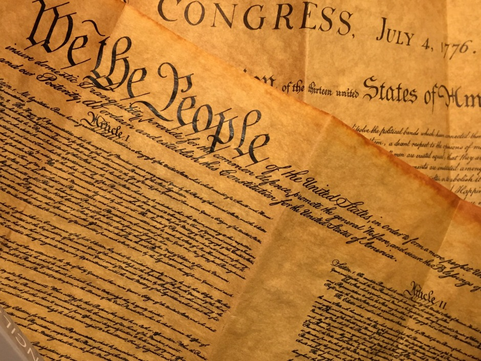The front page of the United States Constitution